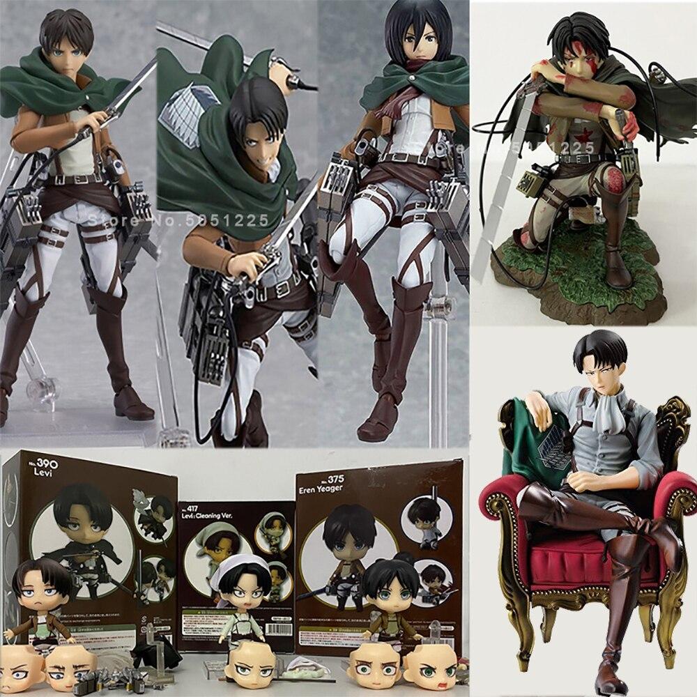 Attack on Titan Figure Artfx J Levi Battle Damage Figma Eren Jaeger Mikasa Ackerman Ackerman Levi Figure Toy Doll Christmas Gift
