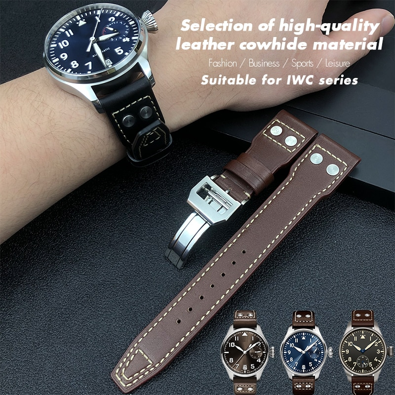 21mm 22mm High Quality Genuine Leather Rivets Watchband Fit For IWC Big Pilot Spitfire TOP GUN Brown