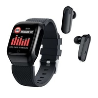 2 in 1 smart watch earbuds with earphones music bt 5 0 wireless touch control heart rate run for android ios with tws bluetooth