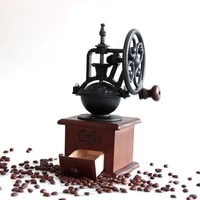 retro vintage manual coffee grinder wooden coffee bean mill grinding ferris wheel hand crank coffee maker kitchen tools
