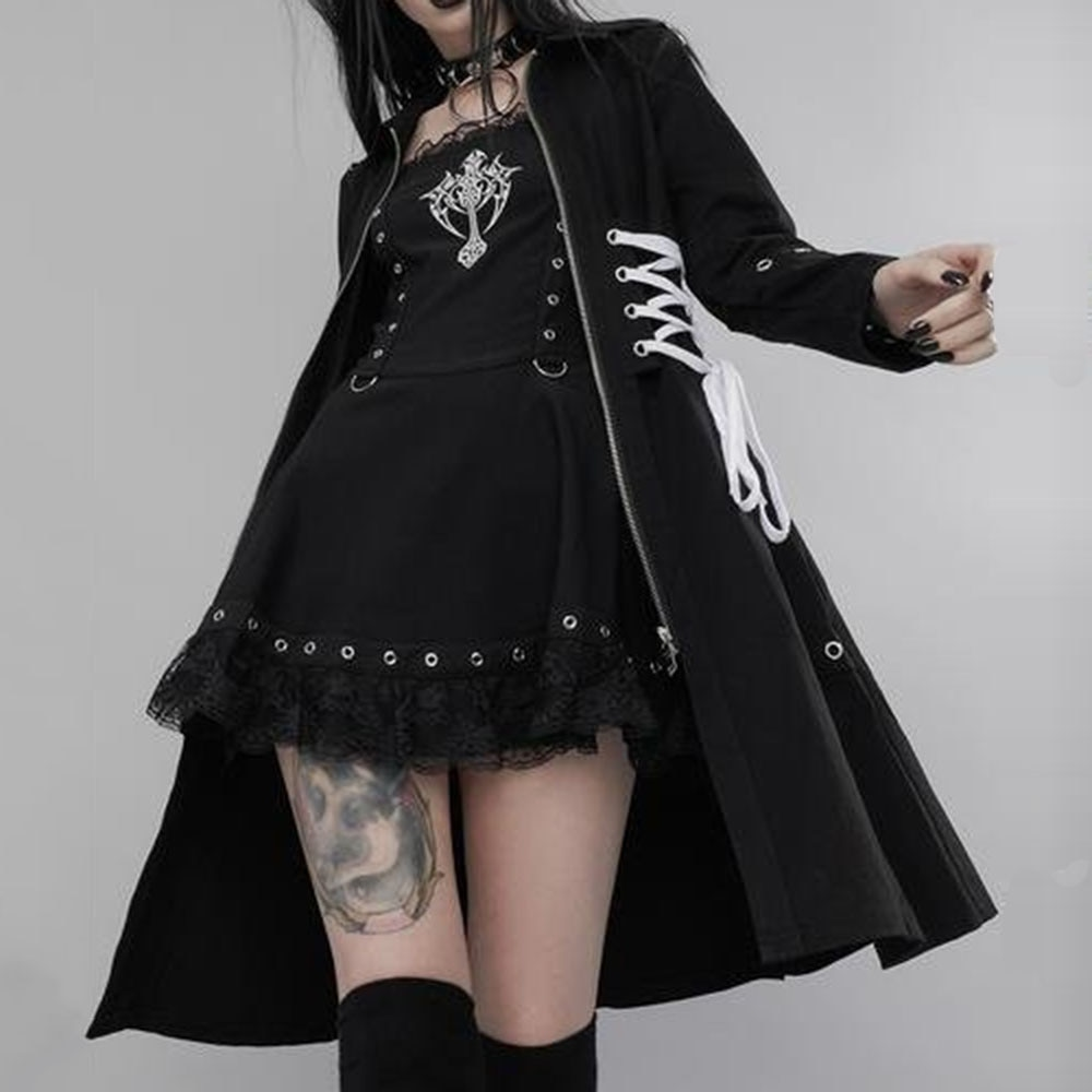 2021 Autumn Winter New Gothic Fashion High Street Solid Color Women's Trench Coat Zipper Puttee Draw