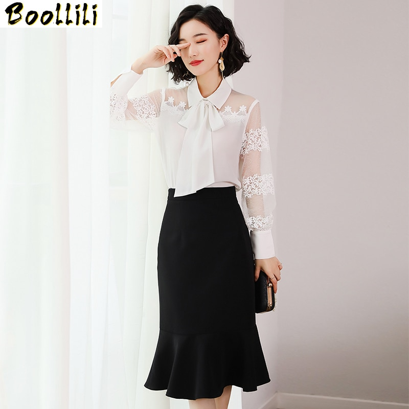 Boollili-طقم من قطعتين للسيدات ، ملابس مكتبية ، بلوزة شيفون سوداء ، تنورة طويلة أنيقة كورية ، ملابس نسائية لربيع وصيف 2020