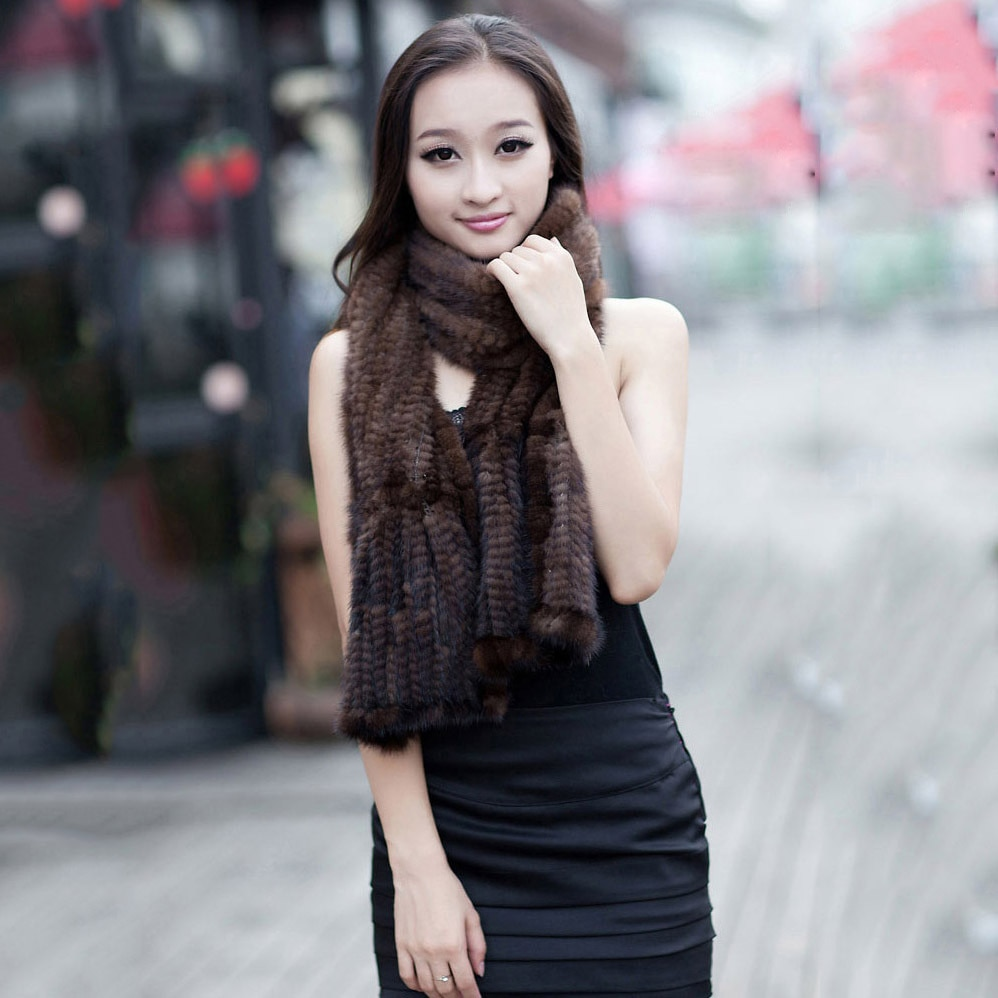 SHZQ Fashion Lady Real Knitted Mink Fur Scarf Winter Women Warm Genuine Fur Shawl Black Coffee Color Real Pictures 172cm 12cm Co
