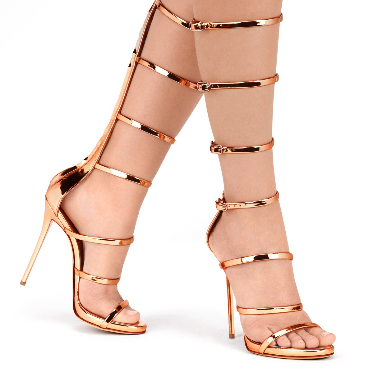2021 Summer High Heels Sandals Roman Buckle Gold Patent Leather Knee High Gladiator Sandals Boots Customized Women's Shoes Mujer