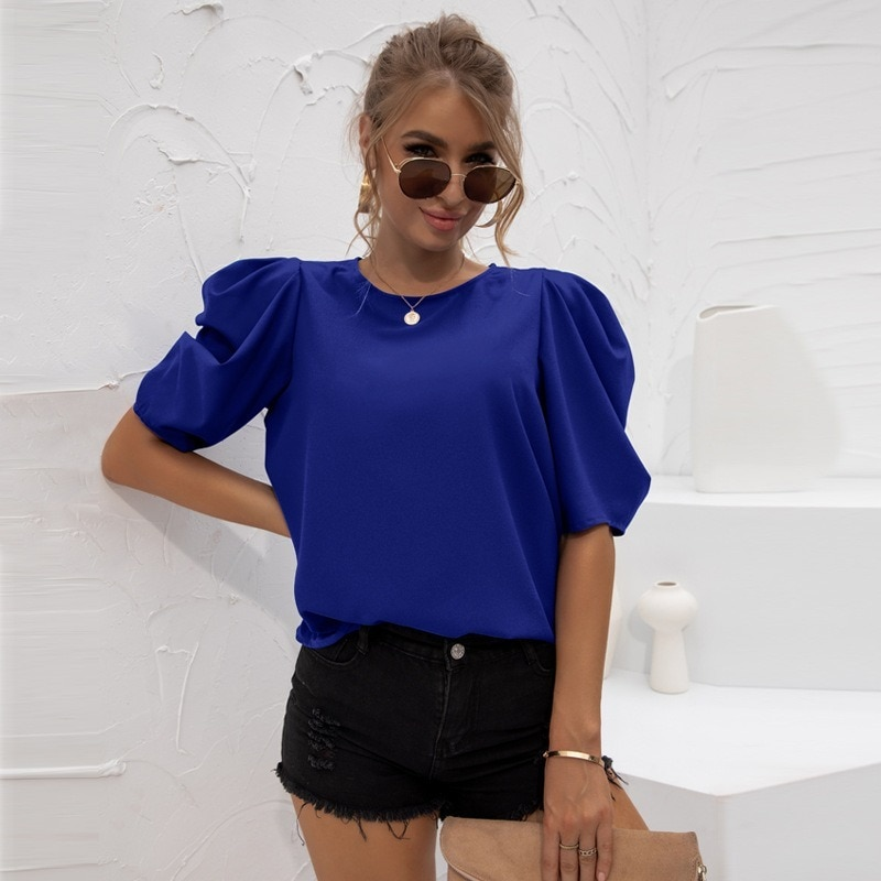 Chiffon Blouses Women Summer Puff Sleeve Top Solid Color O-Neck Casual Loose Fashion Retro Black White Base Wild Bottoming Shirt