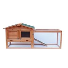 "【Us Warehouse】 61 ""Waterdichte Twee-Tier Houten Konijnenhok Kooi Kippenhok Huis Bunny Kip Pet Animal Achtertuin ru"
