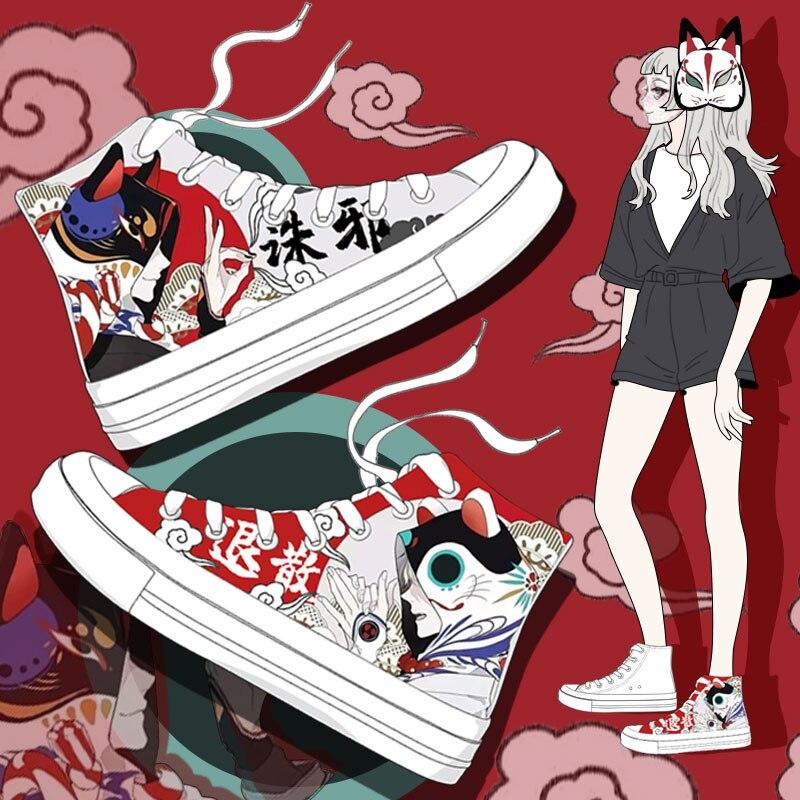 ¡Nuevo estilo de primavera 2020! Zapatos vulcanizados de mujer, zapatillas de deporte blancas informales de alta calidad, zapatos de lona pintados a mano de diseño especial