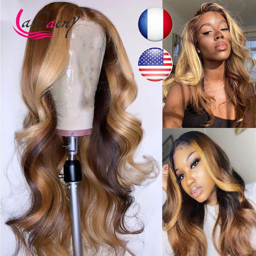 13x6 hd laço frontal destaque peruca de cabelo humano brasileiro mel loira frente do laço perucas preplucked onda do corpo natural linha fina