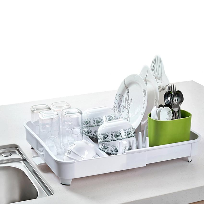 Cocina Bol platos fregadero lluvia bastidor de almacenamiento de plástico filtro de agua taza de estiramiento estante drenaje suministros de estantería de cocina