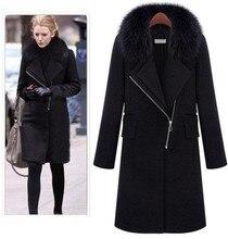 Nuevas chaquetas de otoño e invierno para mujer, abrigo de lana negro, Cuello de piel grande, cremallera oblicua, Chaqueta larga de lana de talla grande abrigos