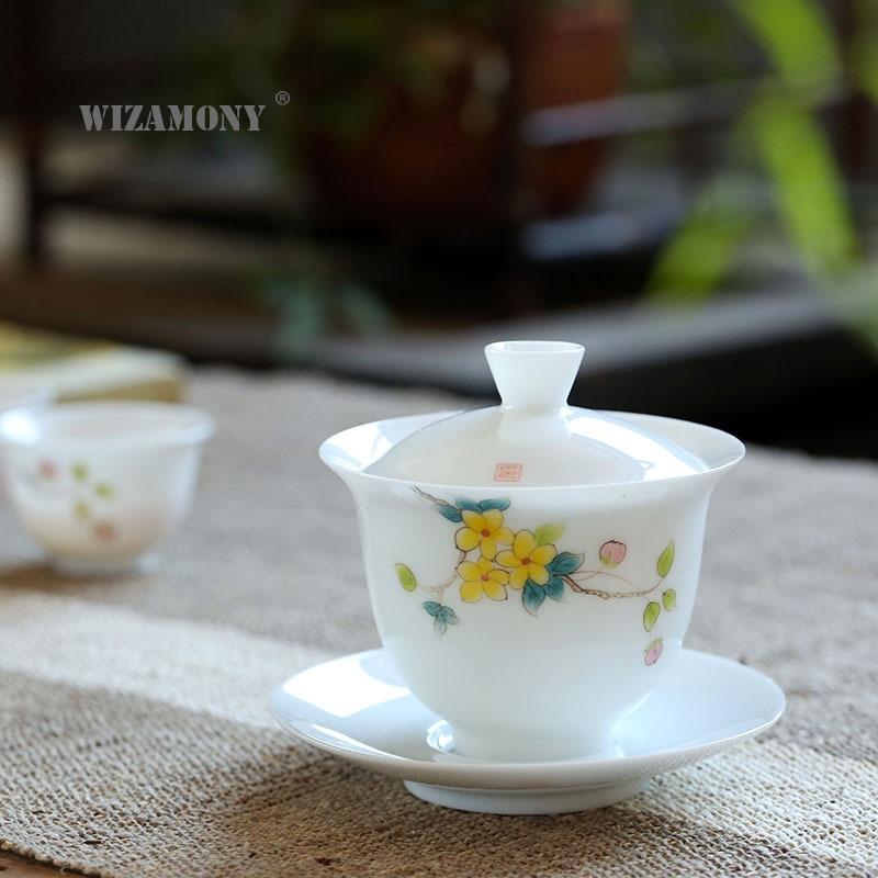 Arcilla de Jade pintada a mano porcelana blanca tazón de tres talento gran juego de té de porcelana china bajo esmalte tazón de té de color para taza de té