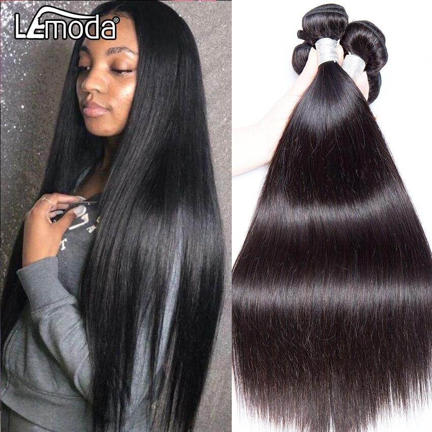 3 mechones de cabello humano liso brasileño de 40 pulgadas LeModa, mechones de cabello humano postizo, mechones de pelo Remy negro Natural, se pueden teñir y decolorar
