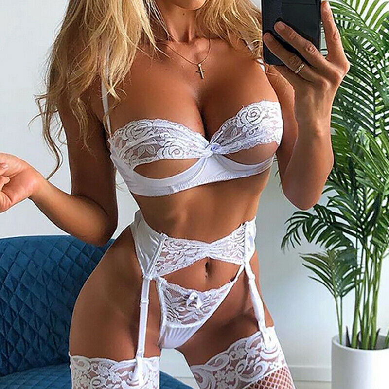 New Women Sexy Lace Lingerie Underwear Hollow Out Bra Top+G-string Panties Erotic Sleepwear Nightwear (Socks Not Included)