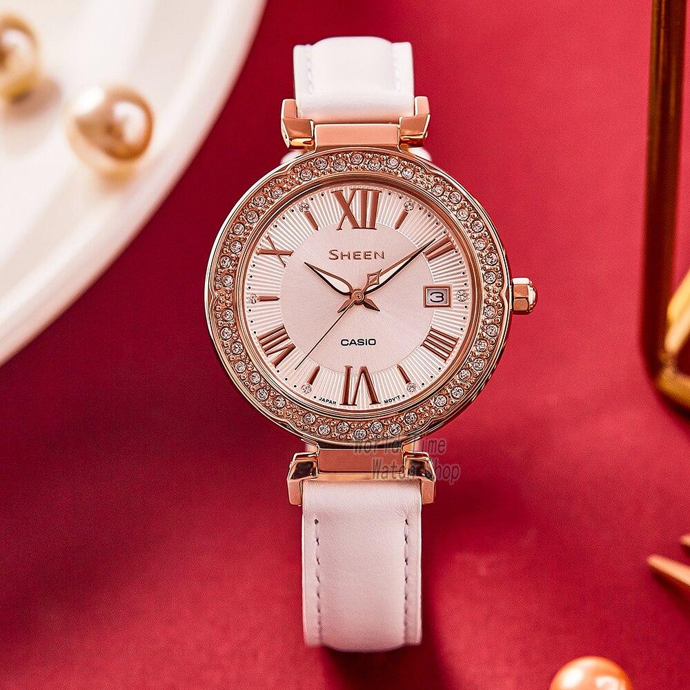 Casio women watch SHEEN Swarovski Crystal top brand luxury set ladies watch 50m Waterproof Quartz girl Sport clock reloj mujer enlarge