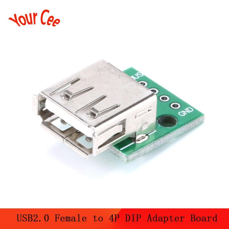 10 pces usb2.0 fêmea para 4 p dip interruptor dip adaptador placa módulo adaptador usb para arduino conector