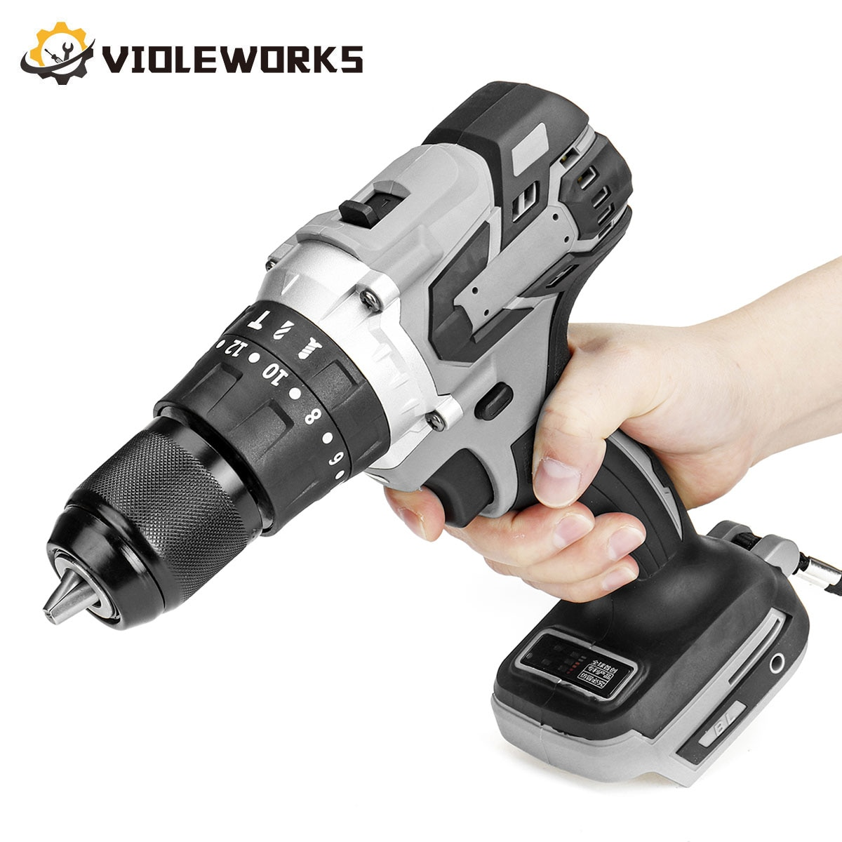 3 In 1 Grey Brushless Electric Screwdriver Drill 20+3 Torque 13mm Cordless Electric Hammer Impact Drill for Makita 18V Battery 3 in 1 13mm brushless electric hammer drill electric screwdriver 20 3 torque cordless impact drill for makita 18v battery