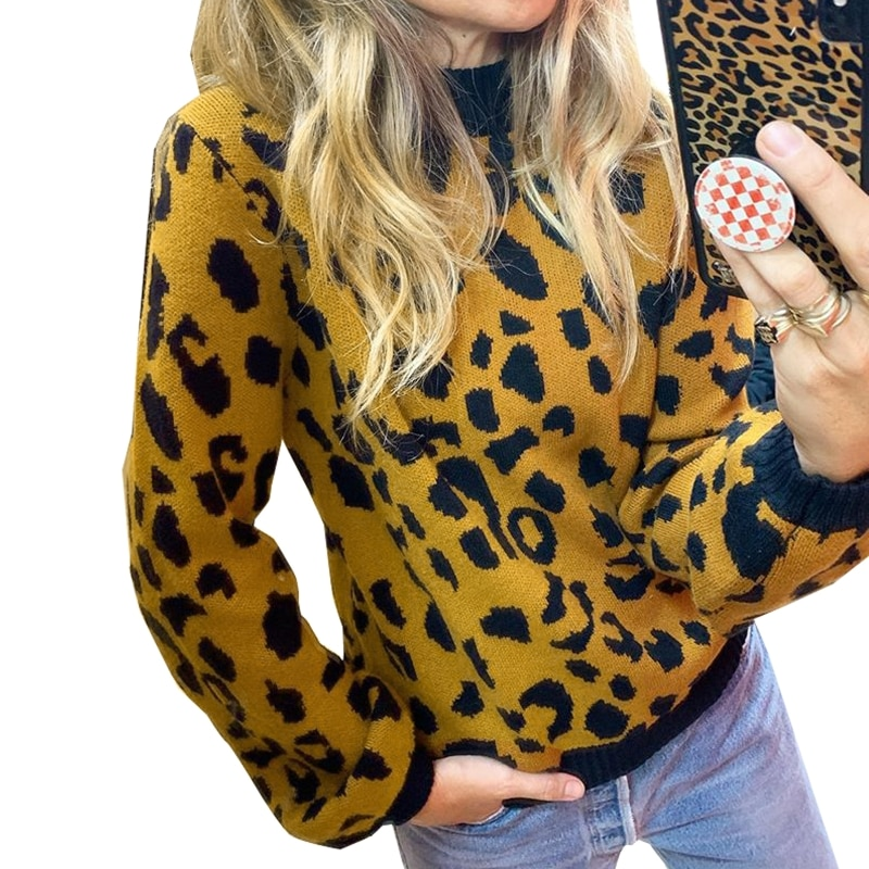 Women Long Sleeves Round Neck Warm Knitted Sweater Leopard Print Casual Pullover enlarge