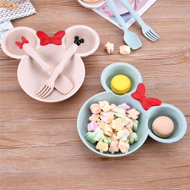 EMS 50 مجموعات 150 قطعة الاطفال الكرتون ميكي الغذاء مجموعة القمح القش الصلبة تغذية أطباق الأطفال عاء لوحة دائم طبق عشاء مجموعة
