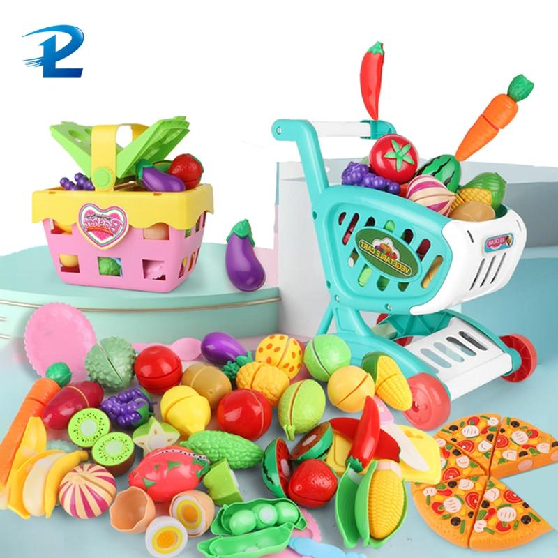 Crianças jogar casa brinquedo cortar frutas e legumes brinquedos simulação crianças cozinha conjunto de brinquedos educativos das crianças