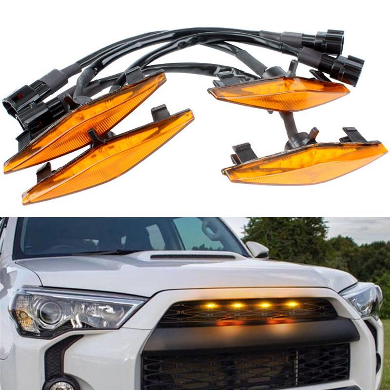 4pcs/set Car LED Amber Grille Lighting Kit Automobile Grill LED Lights Fog Lamp Car Modification For Toyota 4Runner 2014-2019