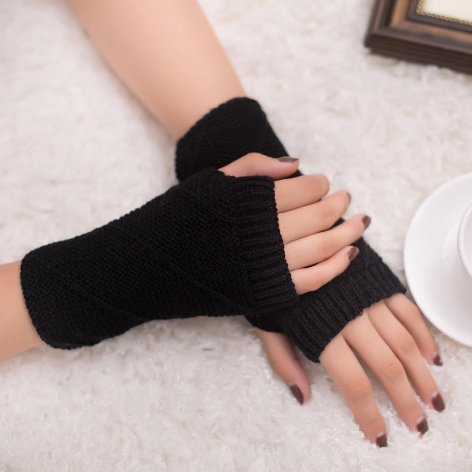 Manoplas tejidas de lana para mujer y niña, manoplas largas suaves y...
