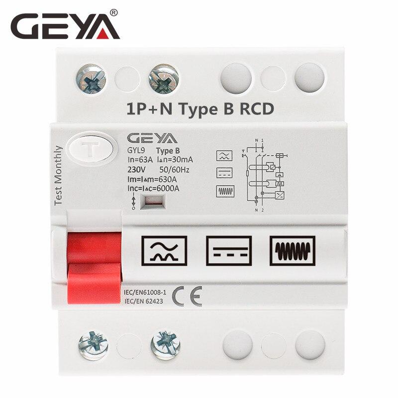 GEYA B typ RCCB wyłącznik różnicowo-prądowy DC ELCB 2P 63 Amp 30mA typ B 10KA RCD