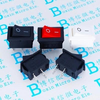 20PCS/LOT 15*21mm 2 Pin SPST ON/OFF Boat Rocker Switch 6A-10A 110V 250V KCD1-101 Snap-in White Rocker Switches 117S