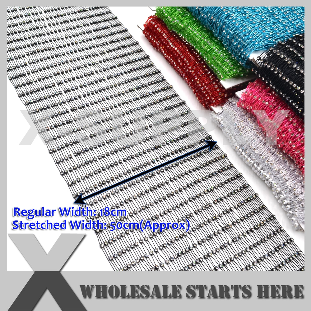Crystal Rhinestone Fishnet Thread Mesh Fabric Mesh Net For DIY Clothing,Costume,Evening Dress,Shoes,Collars 4.5Yard/Lot