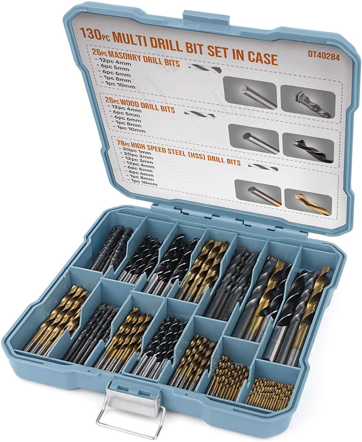 Hi-Spec 130pc Drill Bit Set Titanium-Coated HSS Steel Bits Masonary Drill Power Tool Accessories For Metal Plastic Woodworking