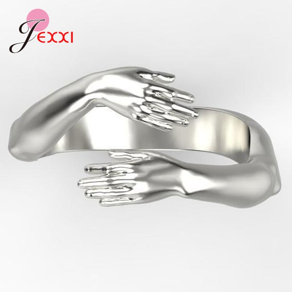 Модные-регулируемые-обнимающие-руки-кольца-из-стерлингового-серебра-925-пробы-ювелирные-изделия-Открытое-кольцо-для-женщин-и-девушек-Свадеб