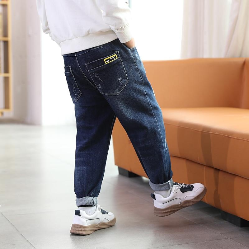 IENENS Boys Jeans Autumn Casual Pants 5-13 Years Elastic Waist Pants Children Jeans Kids Denim Pants