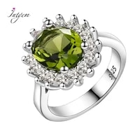 925 sterling silver ring flower silver rings with peridot stones shining luxury wedding engagement rings for women jewelry gifts