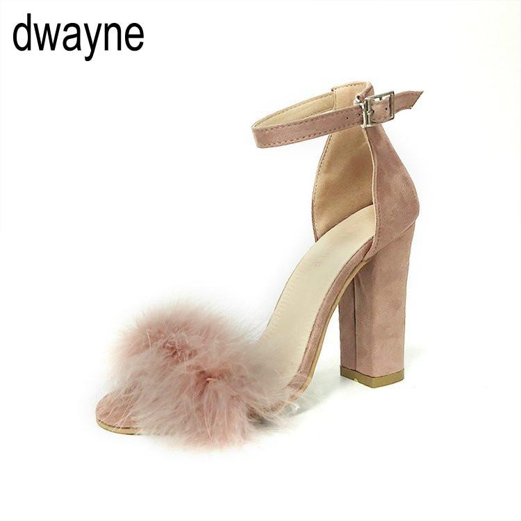 Sandalias de tacón súper alto con correa de piel de conejo de imitación esponjosa para Mujer, Zapatos de tacón alto de 10 CM para verano, Zapatos de tacón para Mujer 759