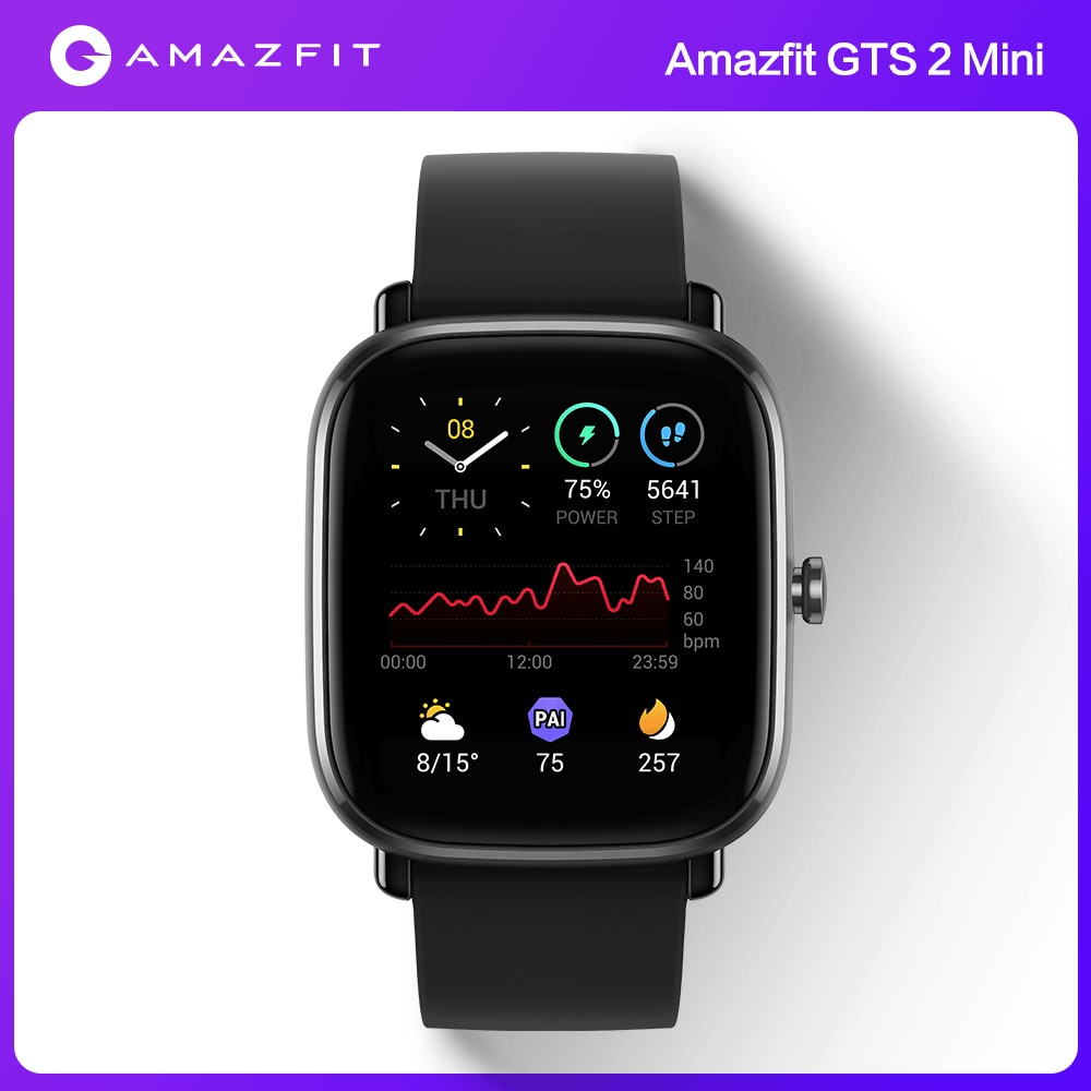 Мини Смарт-часы Amazfit GTS 2, в наличии Встроенная глобальная версия GPS, водонепроницаемость 5ATM, аккумулятор на 14 дней для телефонов Android, Ios