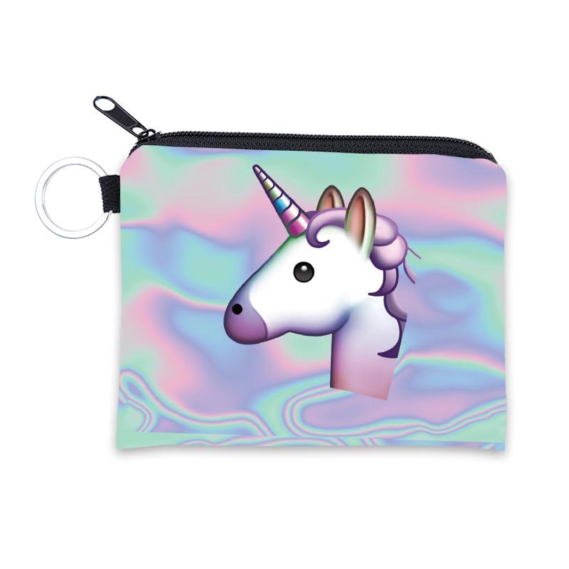 Dibujos Animados unicornio flamenco moneda monederos mujeres Mini billeteras lindo tarjetero señoras llave dinero bolsas para niños monedero