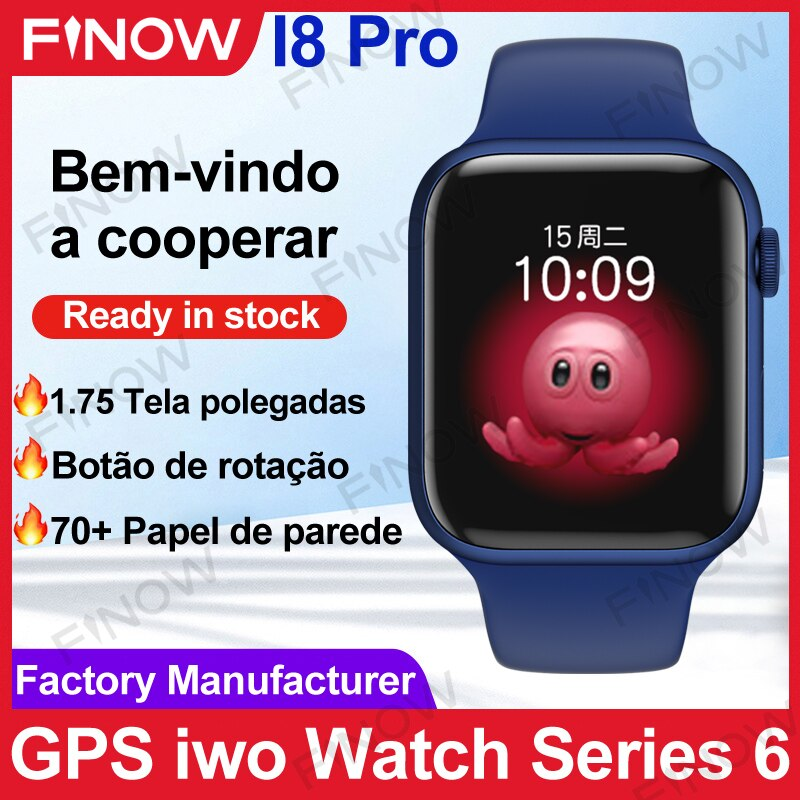 2021 Finow I8Pro SmartWatch Men IWO 13 Series 6 GPS For Sport relogio masculino PK HW22 Pro Max Wireless Charge Encoder Button