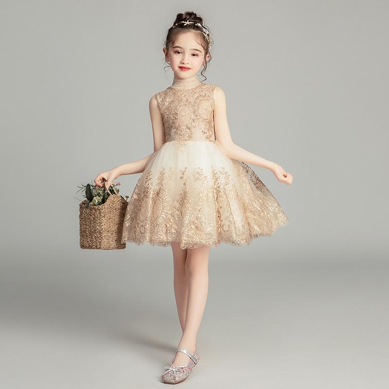 فستان الأميرة للأطفال فستان زفاف الفتاة بدون أكمام فستان سهرة ذهبي ترتر فستان طفلة معمودية فستان الحفلات