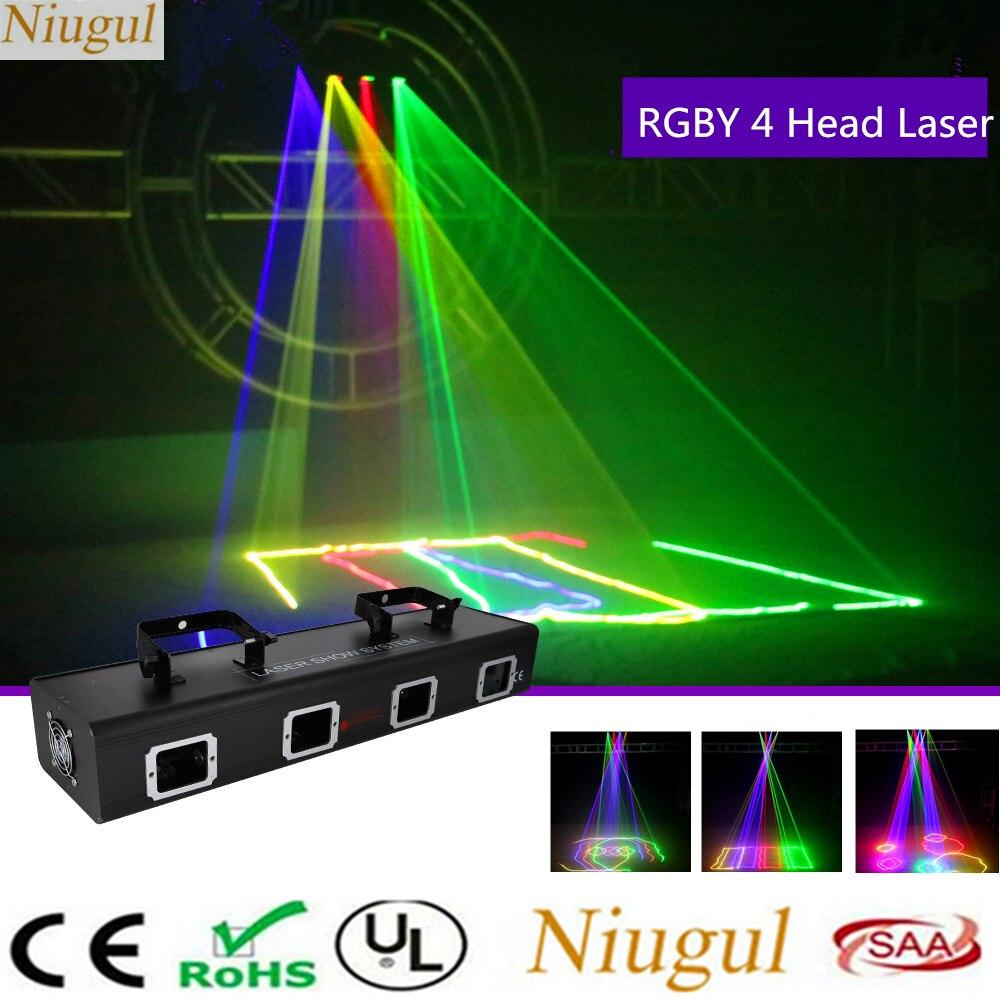 4 головки RGBY сканер лазерный сценический свет DMX512 звуковая активация DJ диско вечеривечерние луч эффексветильник свет s красный зеленый синий желтый лазерный сканер