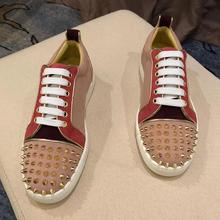 2021 New designer Spikes Leather shoes Causal Flats Handmade Fashion Moccasins Male Rock hip hop sho