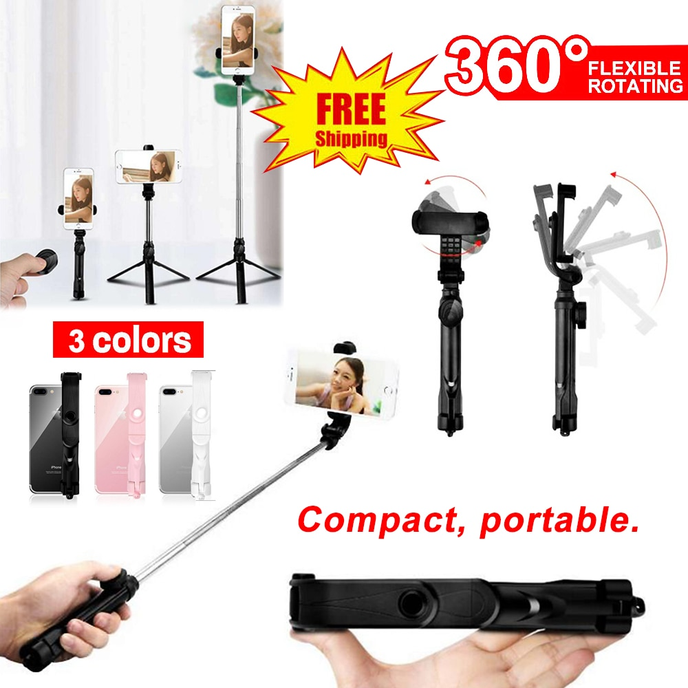 4 In 1 Wireless Bluetooth Selfie Stick Foldable Handheld Monopod Shutter Remote Control 360 Extendable Mini Tripod 3