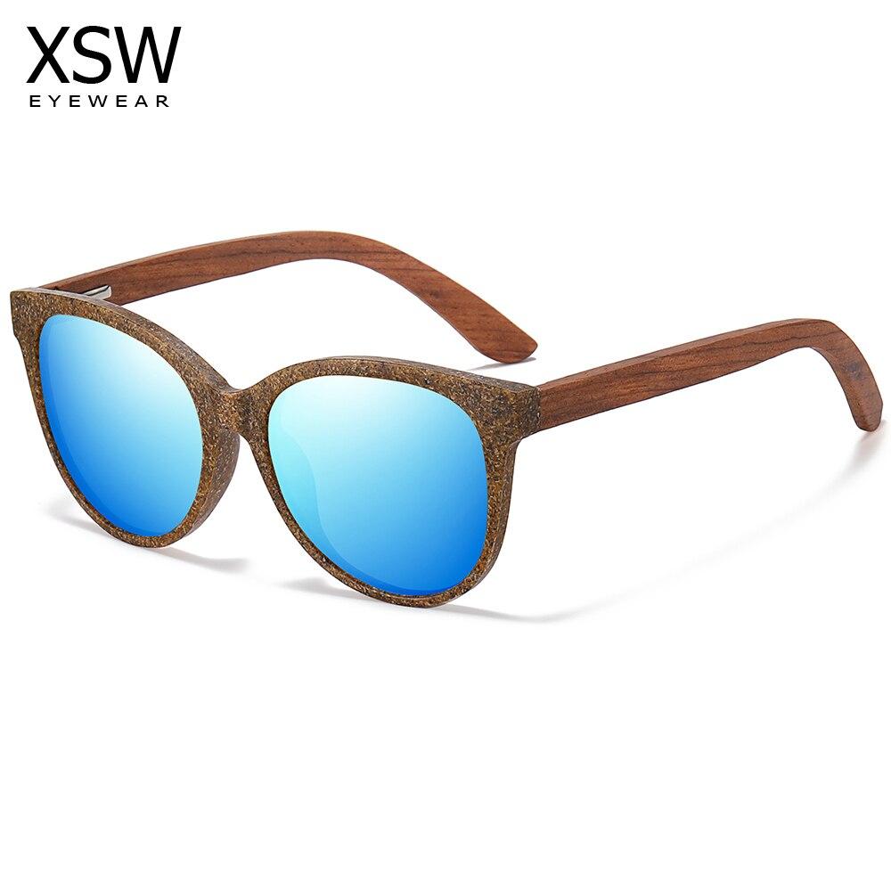 XSW New Arrival Fashion Sunglasses Women Vintage Wooden Mirror Classic Sun Glasses Female Oculos De Sol Feminino UV400