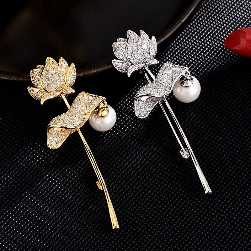 2020 nuevo de lujo Zirconia cúbica Lotus broches para las mujeres con perlas de cobre alfiler de broche de joyería vestido broche mujer bijoux de luxe