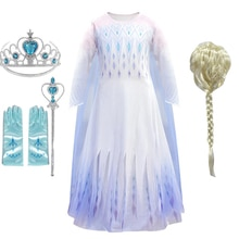 Snow Queen Girls Elsa Dress For Girls Birthday Dress Up Elsa Costumes Halloween Christmas Anna Elsa Cosplay Princess Dress