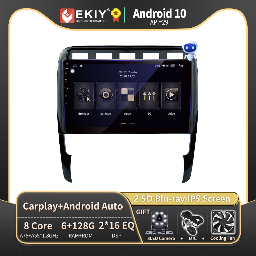 EKIY DSP 6G 128G أندرويد Autoradio لبورش كايين 2002-2010 راديو السيارة مشغل وسائط متعددة لتحديد المواقع والملاحة ستيريو بلوتوث DVD