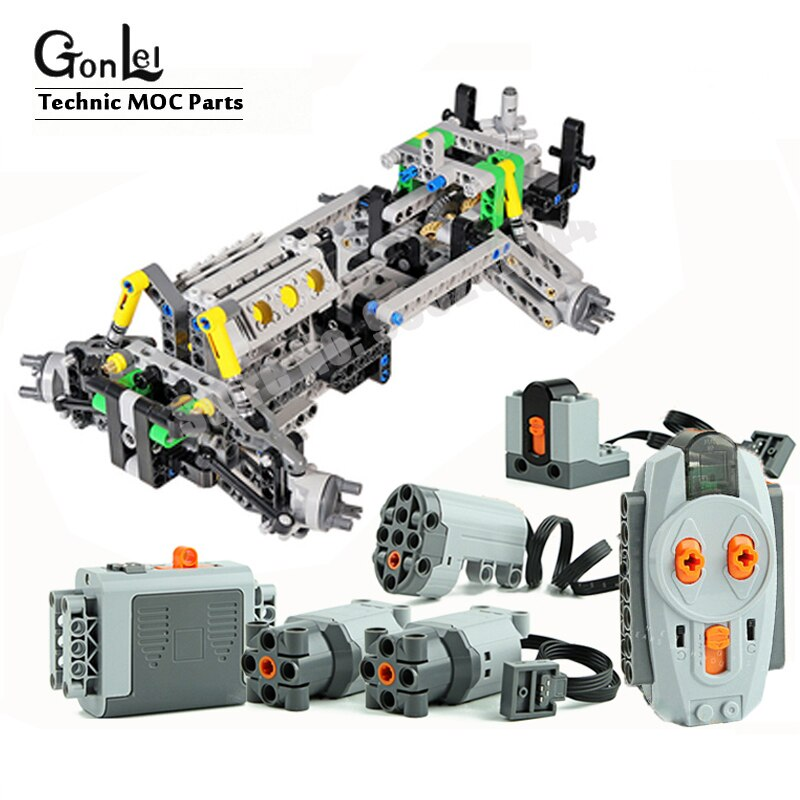 MOC Steering Chassis Independent wheel Shock Absorber Suspension System fake V6 engine Speed Gearbox for Off-Road Blocks Toy