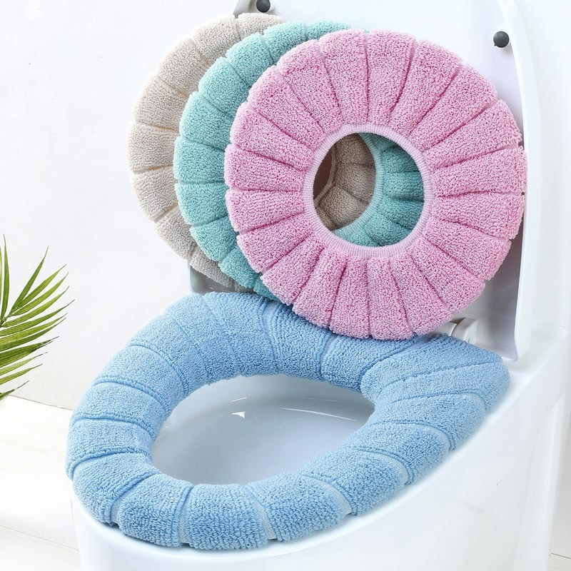 Thickened Toilet Cushion Winter Soft Washable Common Nordic  Seat Pads Household Bathroom Lavatory Set