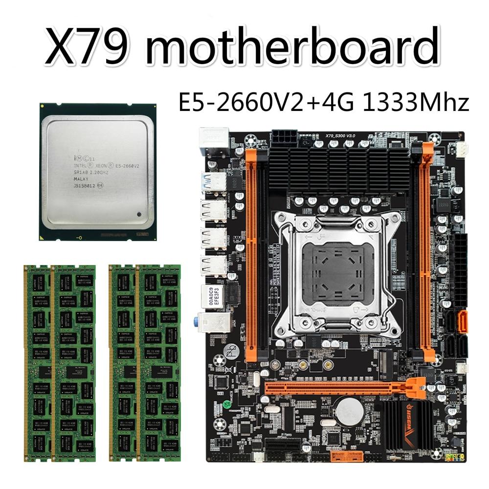 X79 X79-S300 اللوحة LGA2011 E5 2660V2 CPU 1 قطعة x 4GB = 4GB DDR3 1333Mhz 10600 ECC REG ذاكرة مجموعة M-ATX المجموعات M.2 SSD