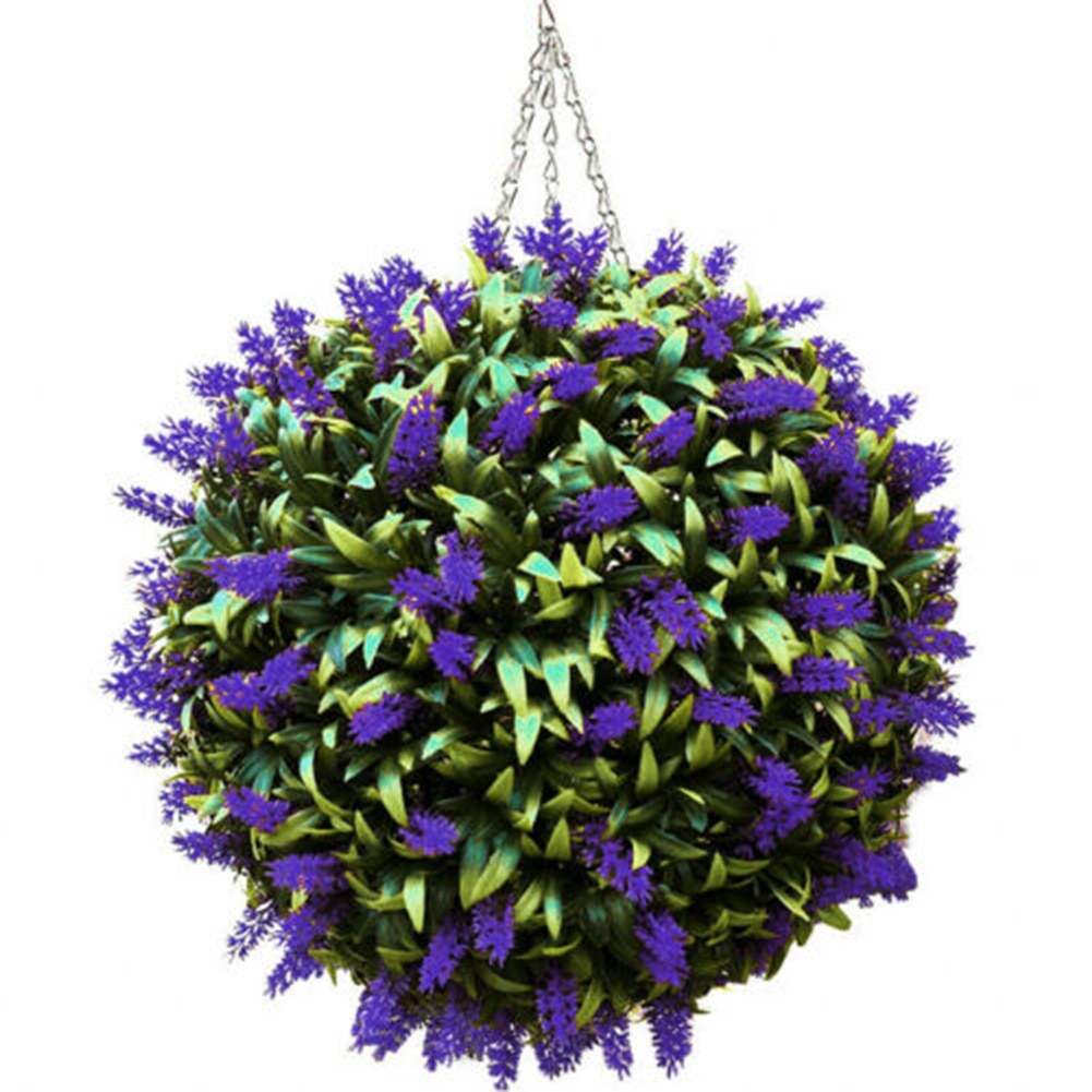 Lavender Hanging Homemade Purple Topiary Ball Flower Plant Decor Basket Pot Handmade DNJ998
