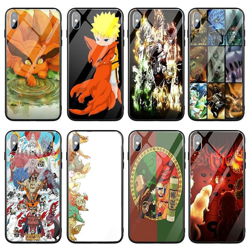 Teléfono Móvil de vidrio templado para iPhone X XR XS 11 12 Pro Max 8 7 5 5S SE 2020 6 6S Plus bolsas Anime Naruto que pase