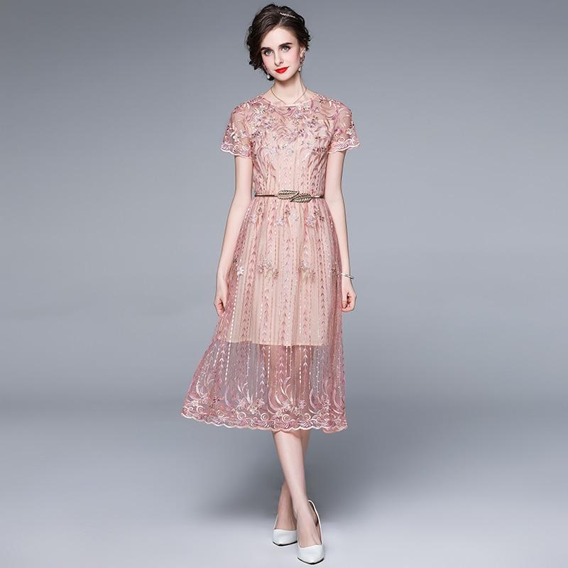 ZUOMAN Women Summer Luxury Embroidery Mesh Dress Festa High Quality Long Elegant Wedding Party Robe Femme Designer Vestidos